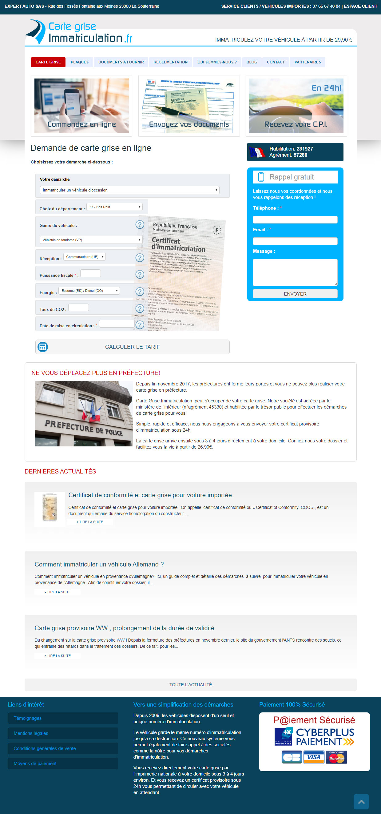 Site web Carte Grise Immatriculation